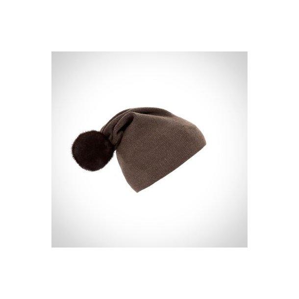 OH ! - Hat knitted m/ Mink pompon - By Kopenhagen Fur