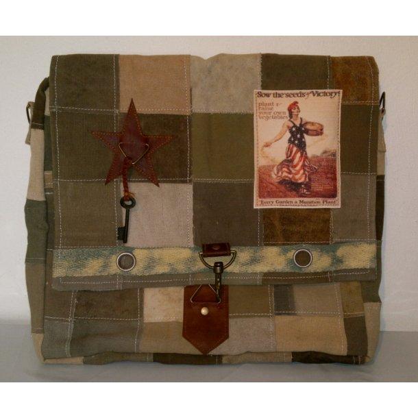 Canvas Skulder Taske m/læder