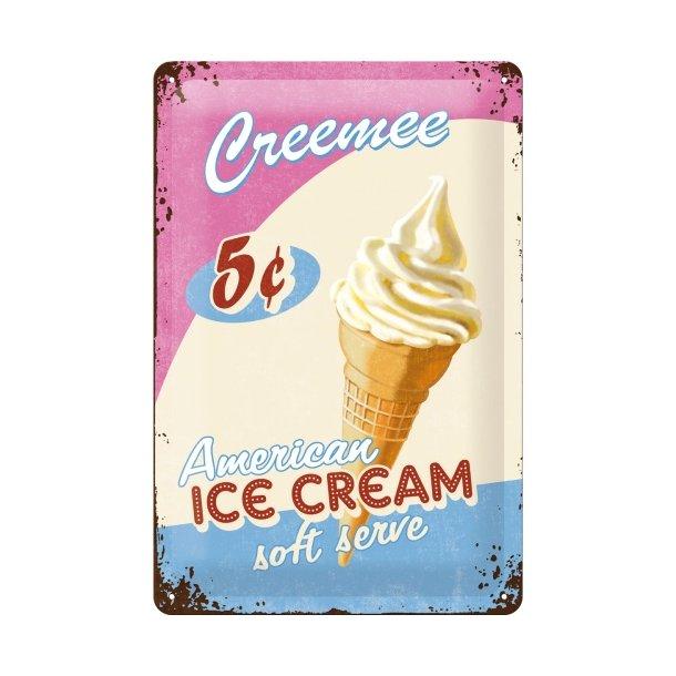 Emalje Barskilt - B47 - American Ice Cream.  20x30 cm.