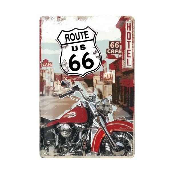 Emalje Barskilt - B52 - Route 66 Lone Rider  20x30 cm.
