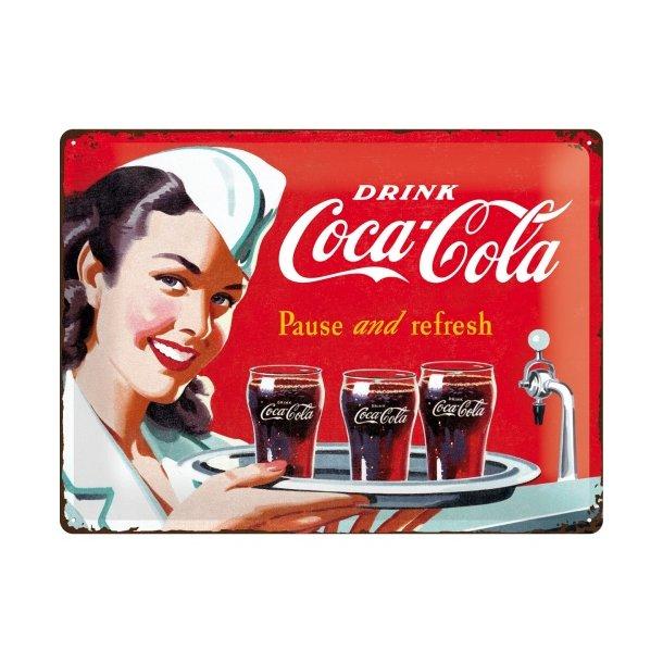 Emalje Barskilt - B61 - Coca-Cola Waitress  30x40 cm.
