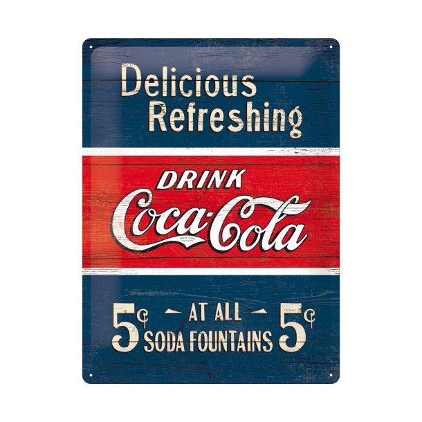 Emalje Barskilt - B59 - Coca-Cola  Delicious Refreshing Blue 30x40 cm.