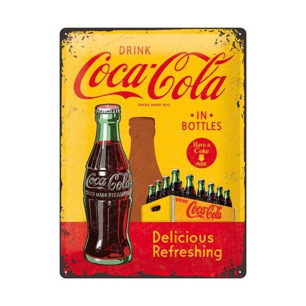 Emalje Barskilt - B60 - Coca-Cola in bottles Yellow  30x40 cm.