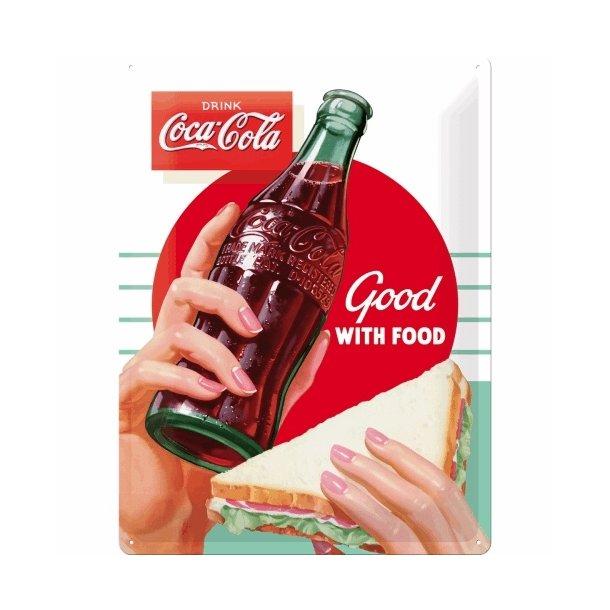 Emalje Barskilt - B62 - Coca-Cola Good with food.  30x40 cm.