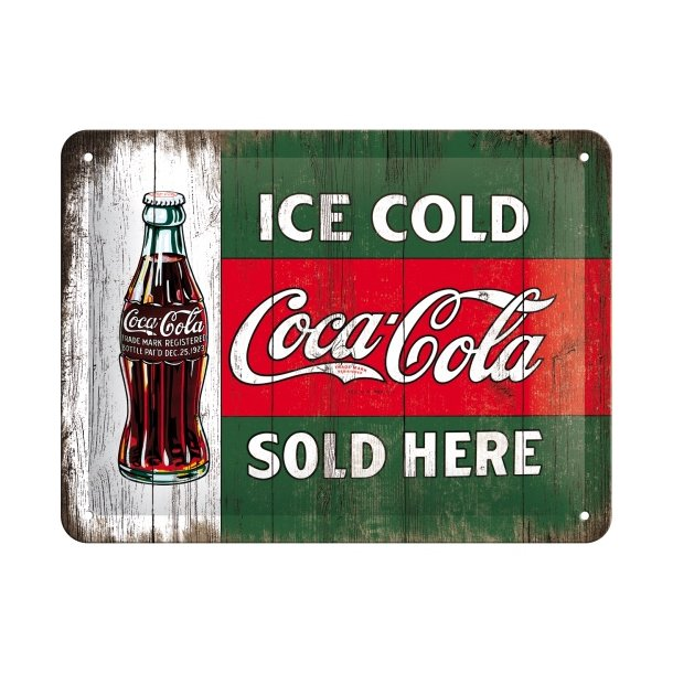 Emalje Barskilt - B72 - Coca-Cola – Ice Cold Sold Here  15x20 cm.