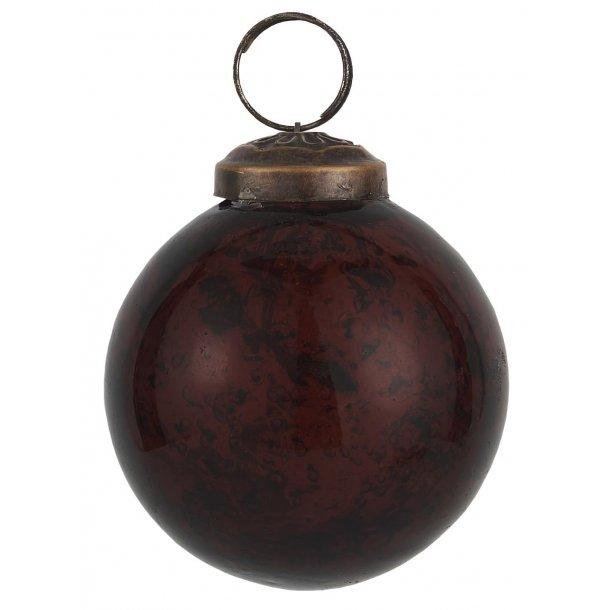 Julekugle pebbled glas bordeaux - Ib Laursen