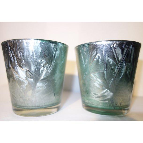 Vaser / Fyrfadsstager i malet glas Sæt a 2 stk.