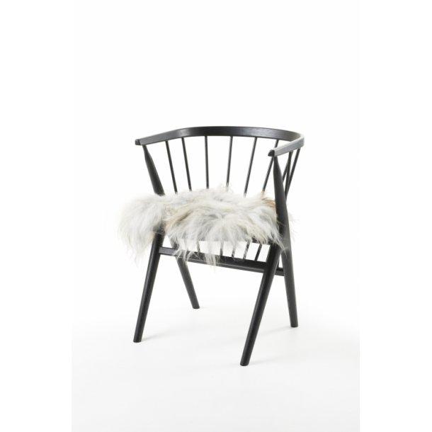 Sædehynde Grå 40 x 40 cm. Islandsk Fåreskind LANGHÅRET