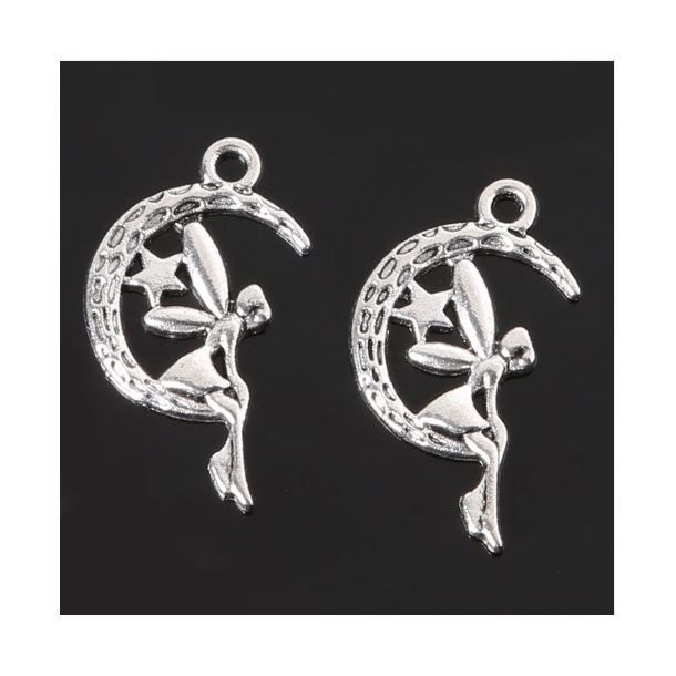 Fe charms i antik silver look. 10 stk.