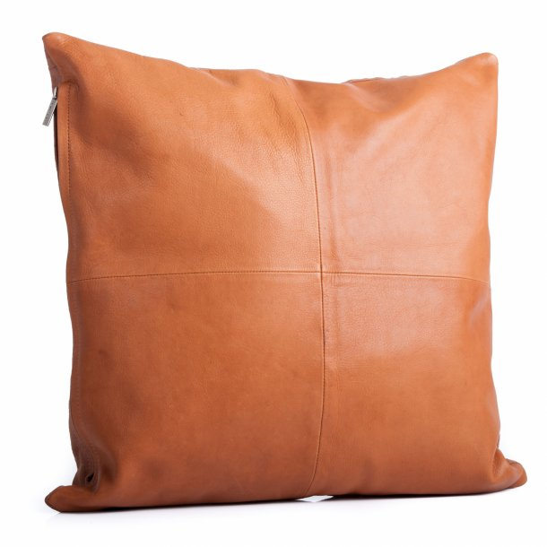 Læderpude i læder/canvas Fv. Cognac