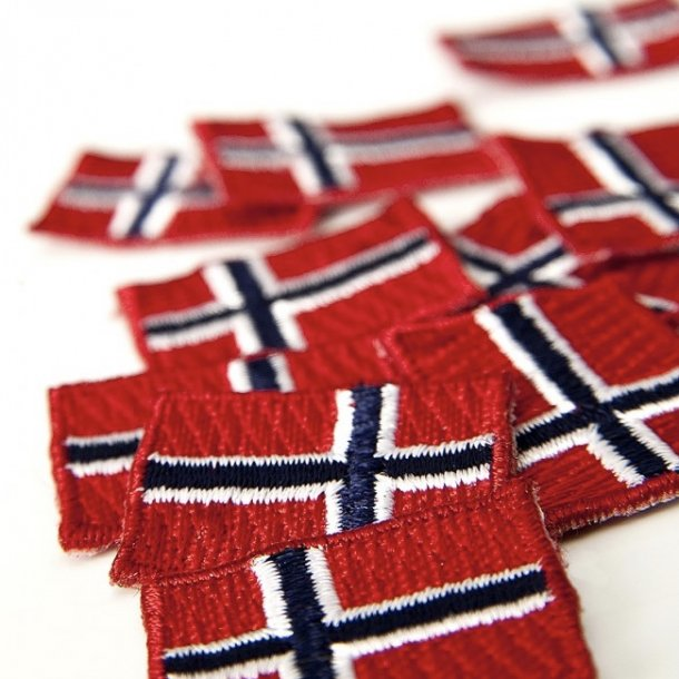 Norske flag i stof til påsyning