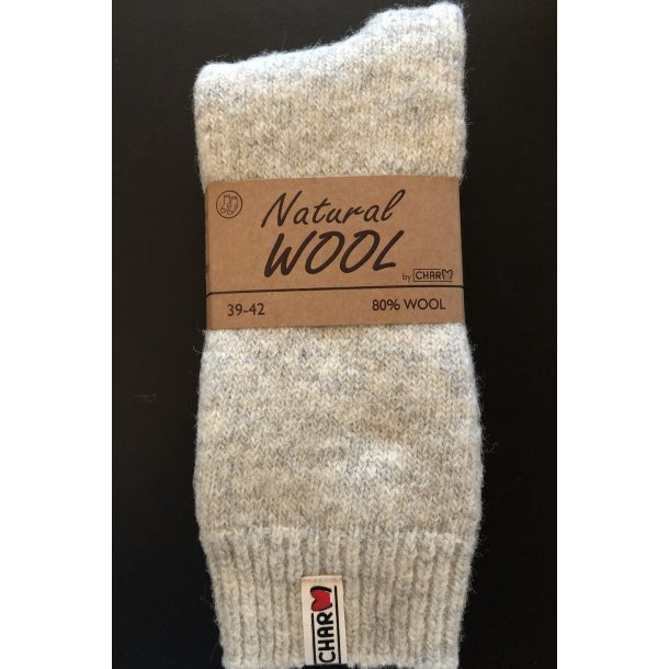 Natural Wool 80% Uld Thermal Eskimo Sokker Fv. Lys Grå (no 12)